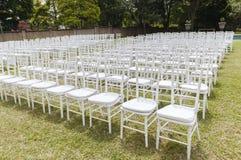 White Chairs Dozens Outdoors Stock Photo
