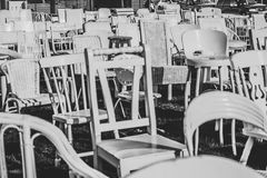 White chairs earthquake Christchurch New Zeland stock photo
