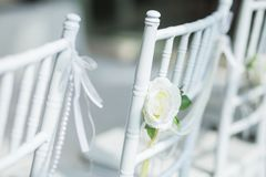 White chairs with flowers for a wedding ceremony. White chairs with flowers decoration for a wedding ceremony Royalty Free Stock Images