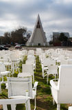 White chairs in front of 'Cardboard Cathedral, Christchurch Stock Photos