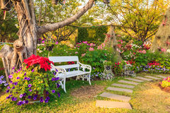 White chairs in the garden. Stock Photo
