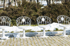 White chairs in the park Royalty Free Stock Photography
