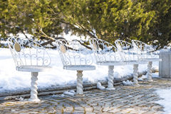 White chairs in the park Stock Image