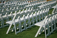 white chairs in the park waiting for event Royalty Free Stock Photography