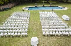 White Chairs and Pool Outdoors Royalty Free Stock Image