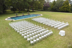 White Chairs Pool Outdoors Stock Photography