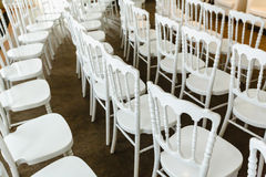 White chairs in a row Stock Photography