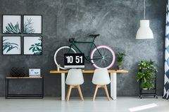 Modern interior with bright posters royalty free stock image