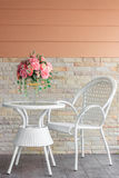 White chairs and table. For sitting at home Stock Photo