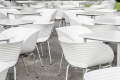 White chairs and tables geometry Stock Photo