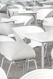 White chairs and tables geometry Royalty Free Stock Images