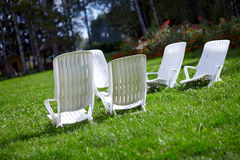 White chairs to relax Stock Photo