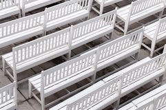 White chairs on the yard Royalty Free Stock Images