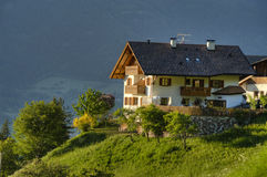 White chalet in Tyrol region of Italy Stock Photo