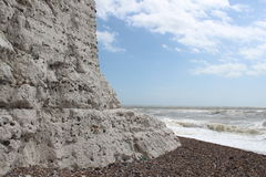 White chalk cliff. Chalk cliffs sussex coast england, sea, blue sky Royalty Free Stock Photography