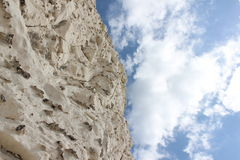 White chalk cliff and blue sky. The chalk cliffs called the 7 sisters on the south coast of England Stock Photography
