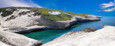 White chalk cliffs eroded coastline Stock Photos