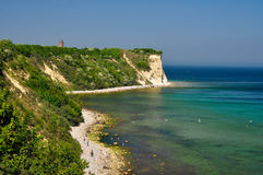 White chalk cliffs on the island of Ruegen, Germany Royalty Free Stock Photos