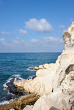 The white chalk cliffs of Rosh ha-Hanikra Stock Photography