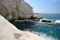 The white chalk cliffs of Rosh ha-Hanikra Stock Photo