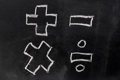 White chalk drawing in basic mathematics symbol. Plus minus multiply divide on black board background Royalty Free Stock Image