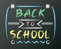 White chalk font design on black board, back to school writing on chalkboard. Yellow pink green uppercase alphabet handwriting. White chalk font design on black Stock Images