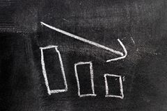 White chalk hand drawing in bar chart with downtrend arrow shape. On blackboard background royalty free stock image