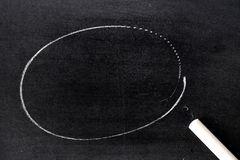 White chalk hand drawing in circle shape on blackboard. Background royalty free stock photo