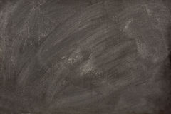 White chalk smudges on a blackboard. White chalk dust and smudges from eraser on a blank blackboard Royalty Free Stock Images