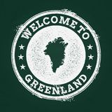 White chalk texture retro stamp with Greenland. White chalk texture retro stamp with Greenland map on a green blackboard. Grunge rubber seal with country Royalty Free Stock Photography
