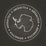 White chalk texture vintage seal with Antarctica. White chalk texture vintage seal with Antarctica map on a school blackboard. Grunge rubber seal with country vector illustration