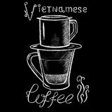 White chalk vietnamese coffee cup drawing. Vietnam style filtered coffee handdrawn illustration. Glass cup and coffee filter cup. Asian coffee tradition. Hot Stock Images