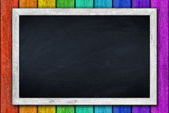 White chalkboard on colorful background Stock Photos