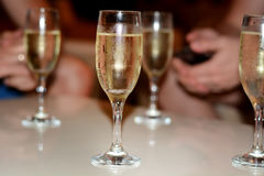 White champagne glasses Stock Photography