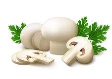 White champignon mushrooms  with parsley leaves on white background Stock Photo
