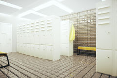 White changing room. White gym changing room interior. 3D Rendering Royalty Free Stock Photography
