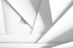 White chaotic multi layered planes, 3d illustration Royalty Free Stock Photo
