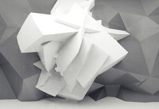 White chaotic polygonal structure on gray wall 3d. Abstract white background with white chaotic polygonal structure on gray structured wall, 3d illustration Royalty Free Stock Images