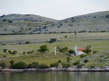 A white chapel in the Kornati national park Royalty Free Stock Photography