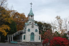White Chapel in Montreal. Chapel of Brother André at St. Josephs Oratory of Mount Royal (Montreal, Canada) in antumn Stock Photos