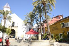 White chapel in Plaza of Marbella Stock Images