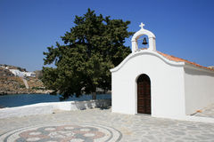 White chapel in Rhodes, Greece. Near small city of Lindos stock photography
