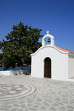 White chapel in Rhodes, Greece. Near small city of Lindos royalty free stock image