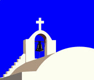White chapel at Santorini Greece  Stock Photo