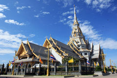 White chapel at Wat Sothonwararam. In Thailand Royalty Free Stock Photography