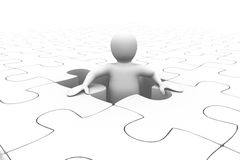 White character appearing in a jigsaw. White character appearing in a white jigsaw Royalty Free Stock Photography