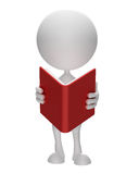 White character with book. Illustration of 3d White character with book Stock Photo
