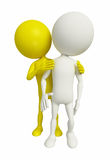 White Character with caring friend. 3D white Character with caring friend Stock Photography