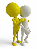 White Character with caring friend. 3D white Character with caring friend Royalty Free Stock Photos