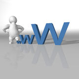 White character climbing on the word www Stock Image